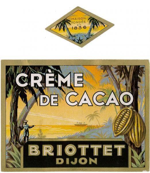 etiquette creme de cacao briottet