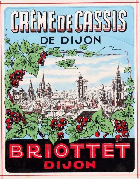 etiquette creme de cassis dijon briottet