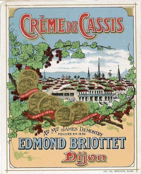 etiquette creme de cassis edmond briottet