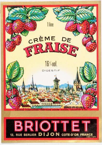 etiquette creme de fraise briottet