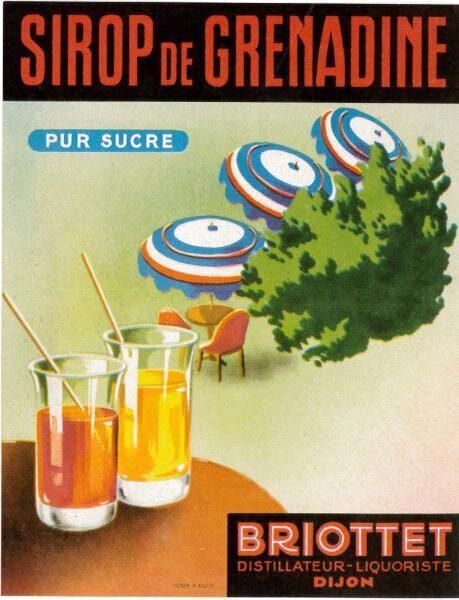 etiquette sirop grenadine briottet