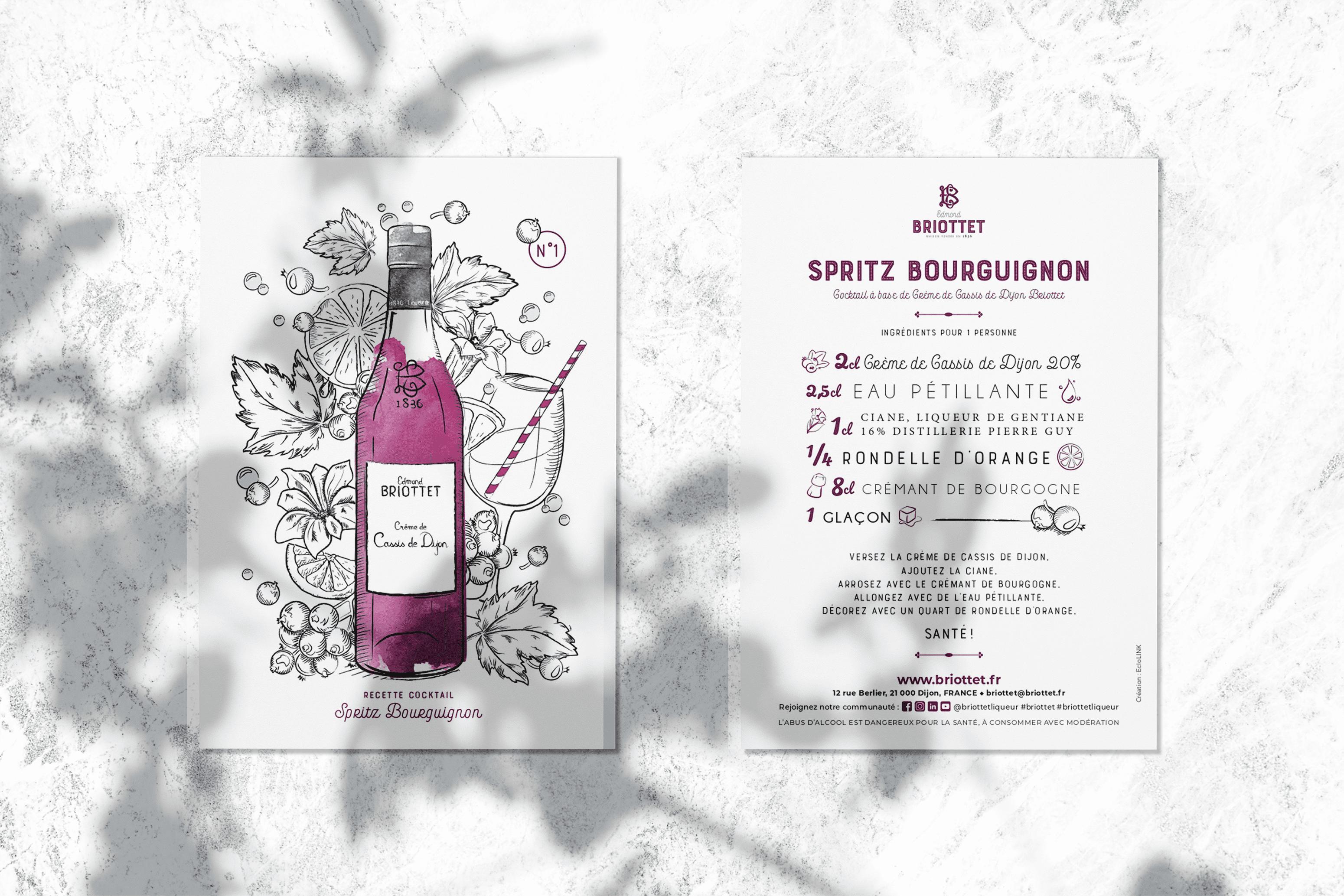 Collection cartes recettes Briottet N°1 Spritz Bourguignon Crème de Cassis de Dijon
