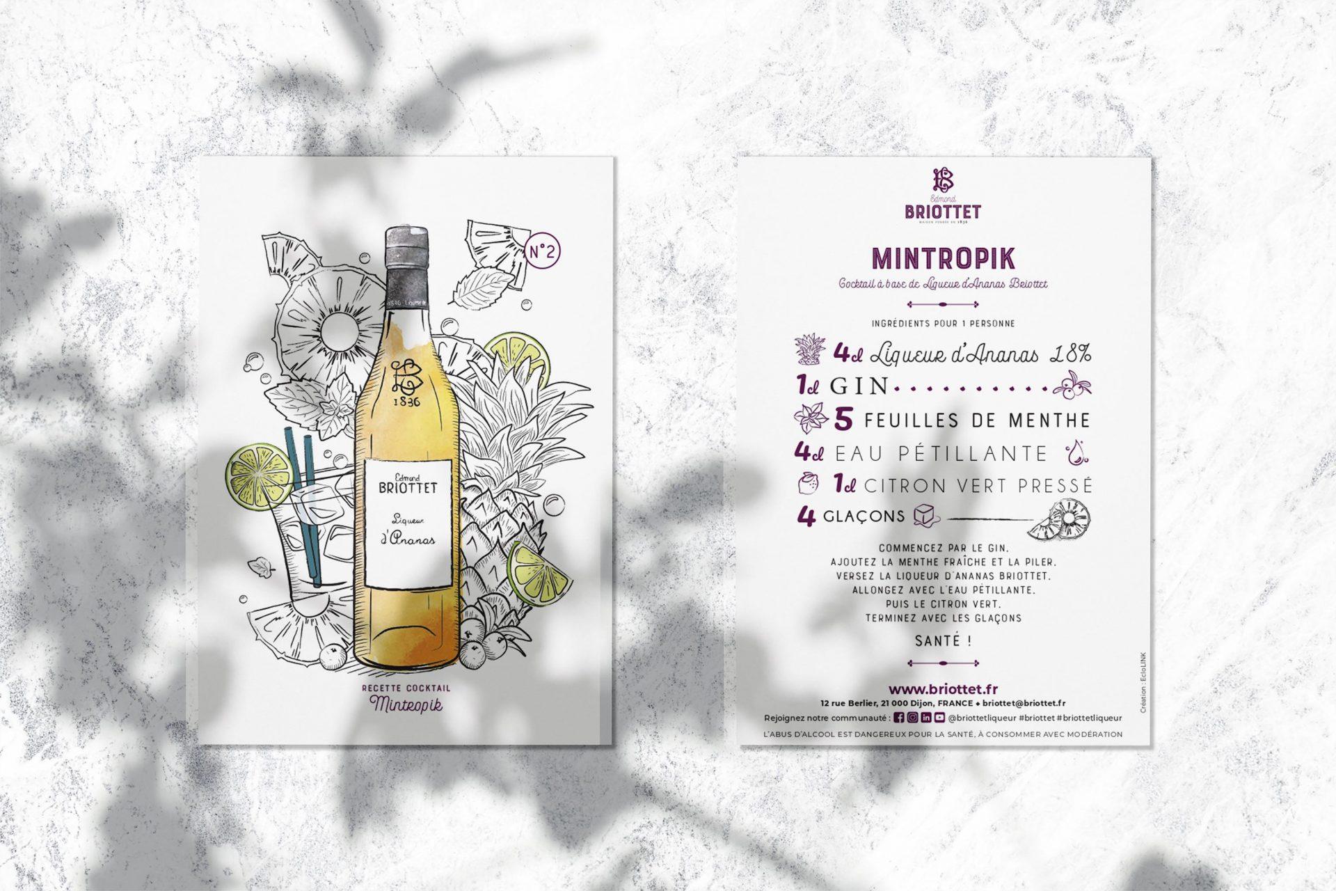 Carte recette cocktail Mintropik à base de liqueur d'Ananas et de feuilles de menthe