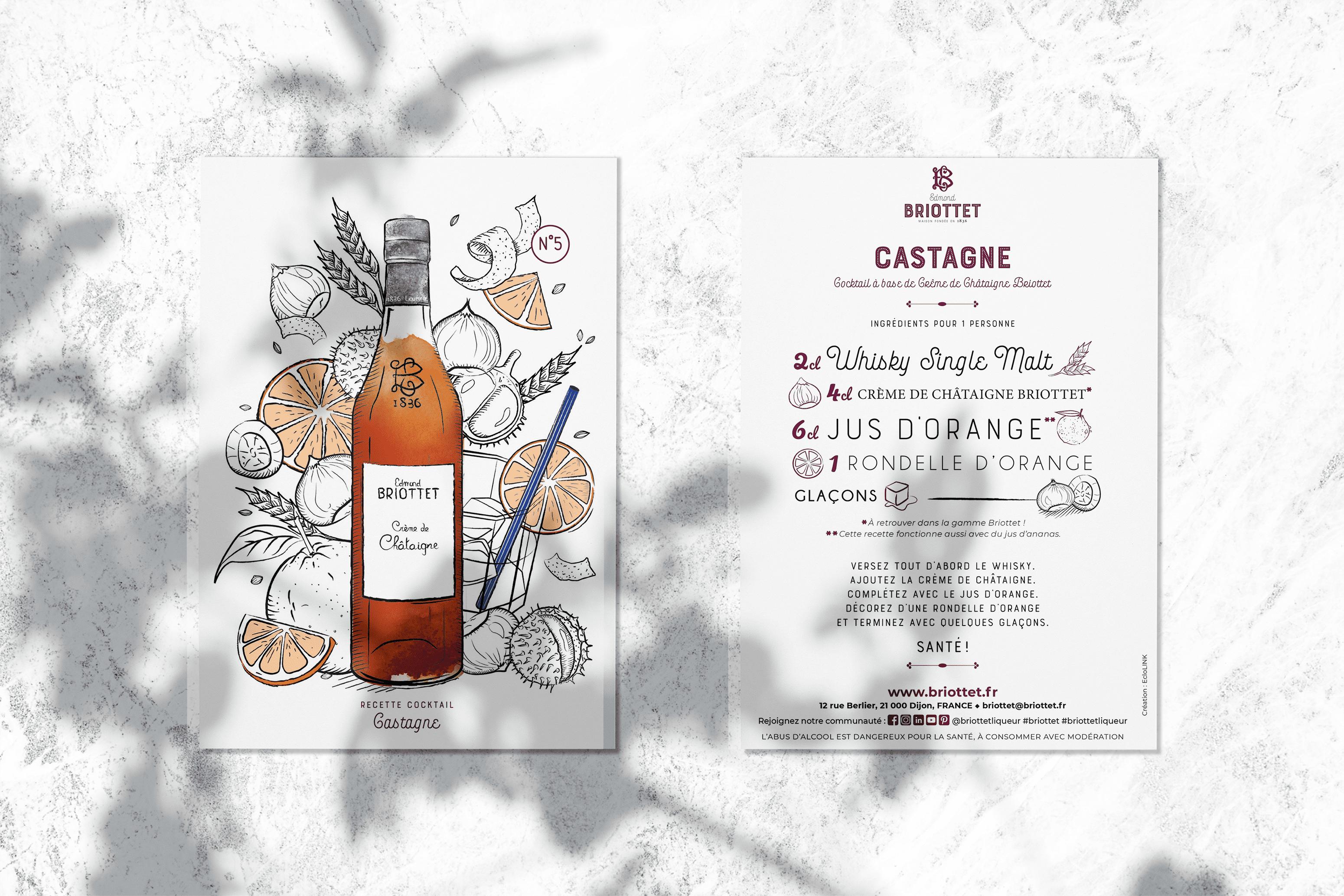 Collection de cartes recettes Briottet N°5 avec recette du Castagne.Une recette à base de Crème de Champagne Briottet et Whisky Single Malt