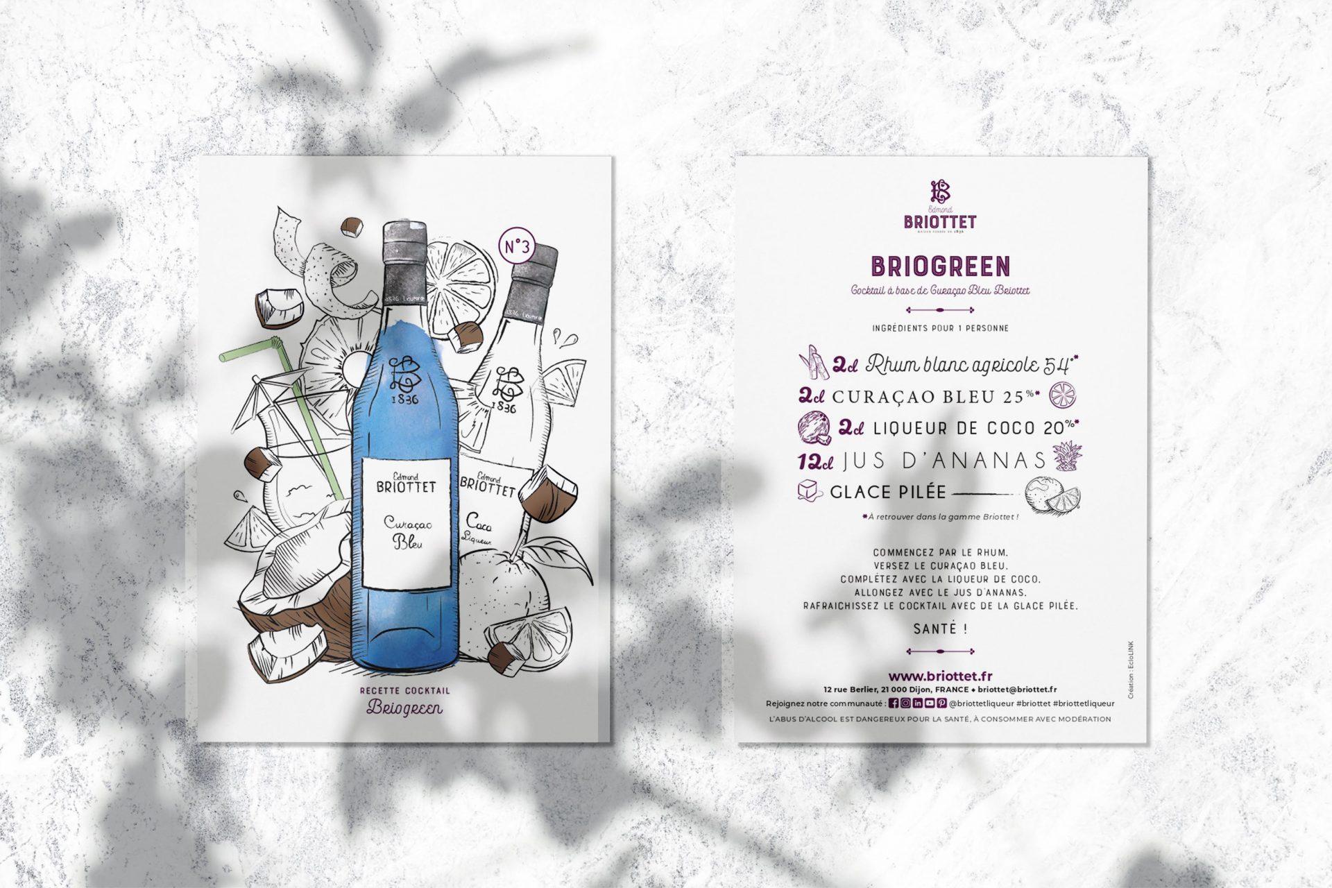 Carte recettes N°3 Briogreen cocktail à base de Curaçao Bleu Briottet