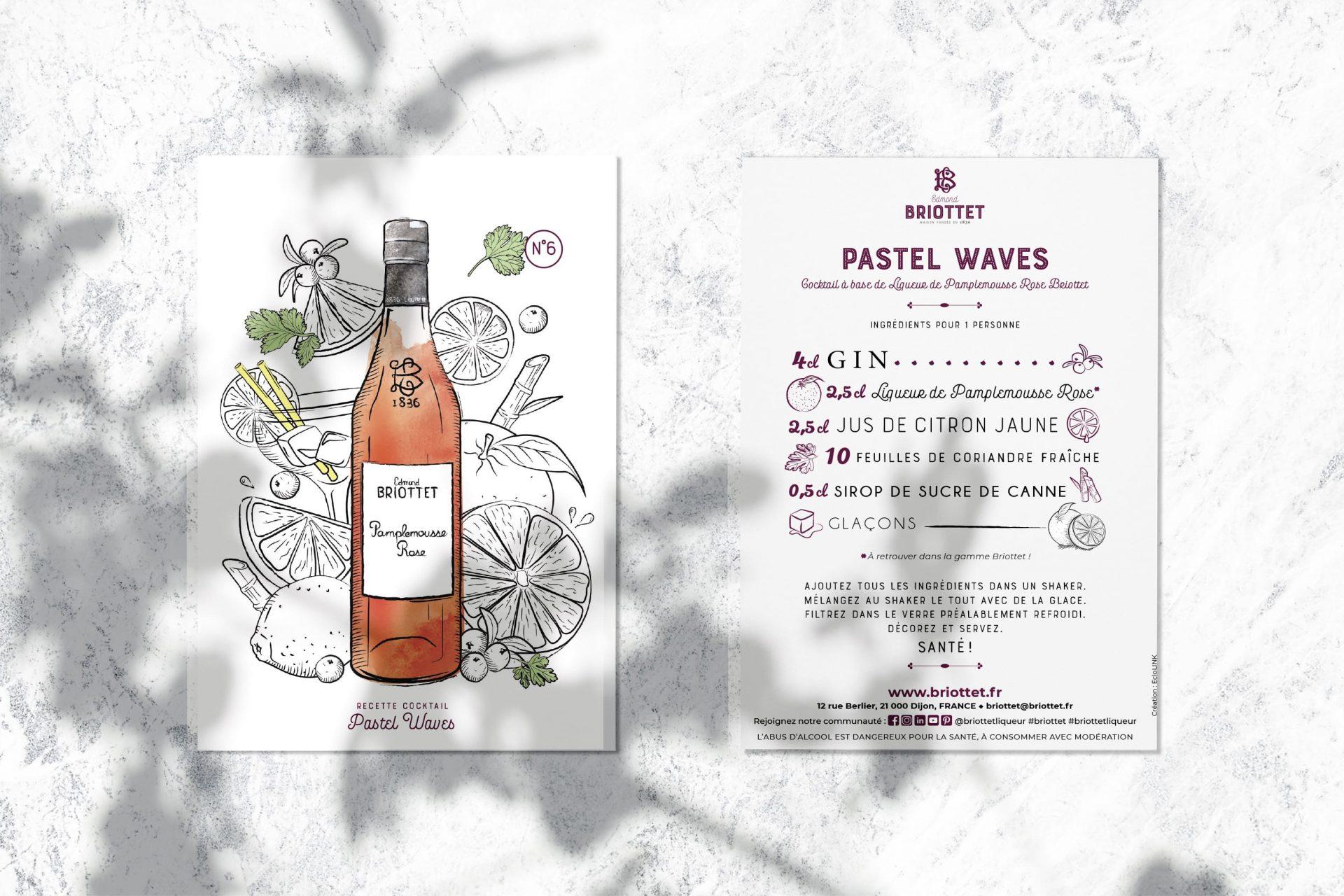Collection de cartes recettes Briottet N°6 avec recette du Pastel Waves.Une recette à base de Liqueur de Pamplemousse Rose Briottet.