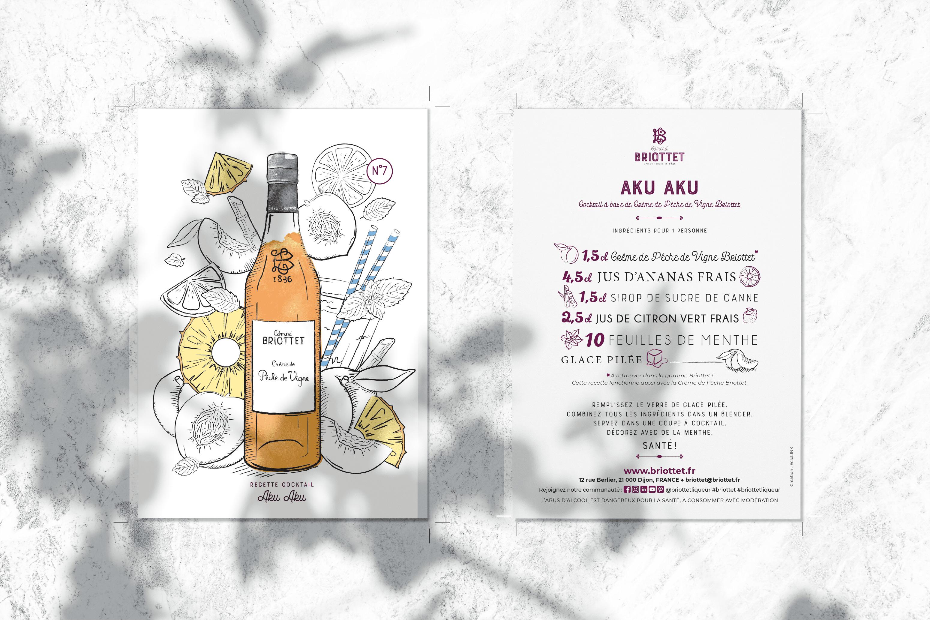 Collection de cartes recettes Briottet N°7 avec recette du Aku Aku. Cocktail composé avec de la Crème de Pêche de Vigne Briottet.