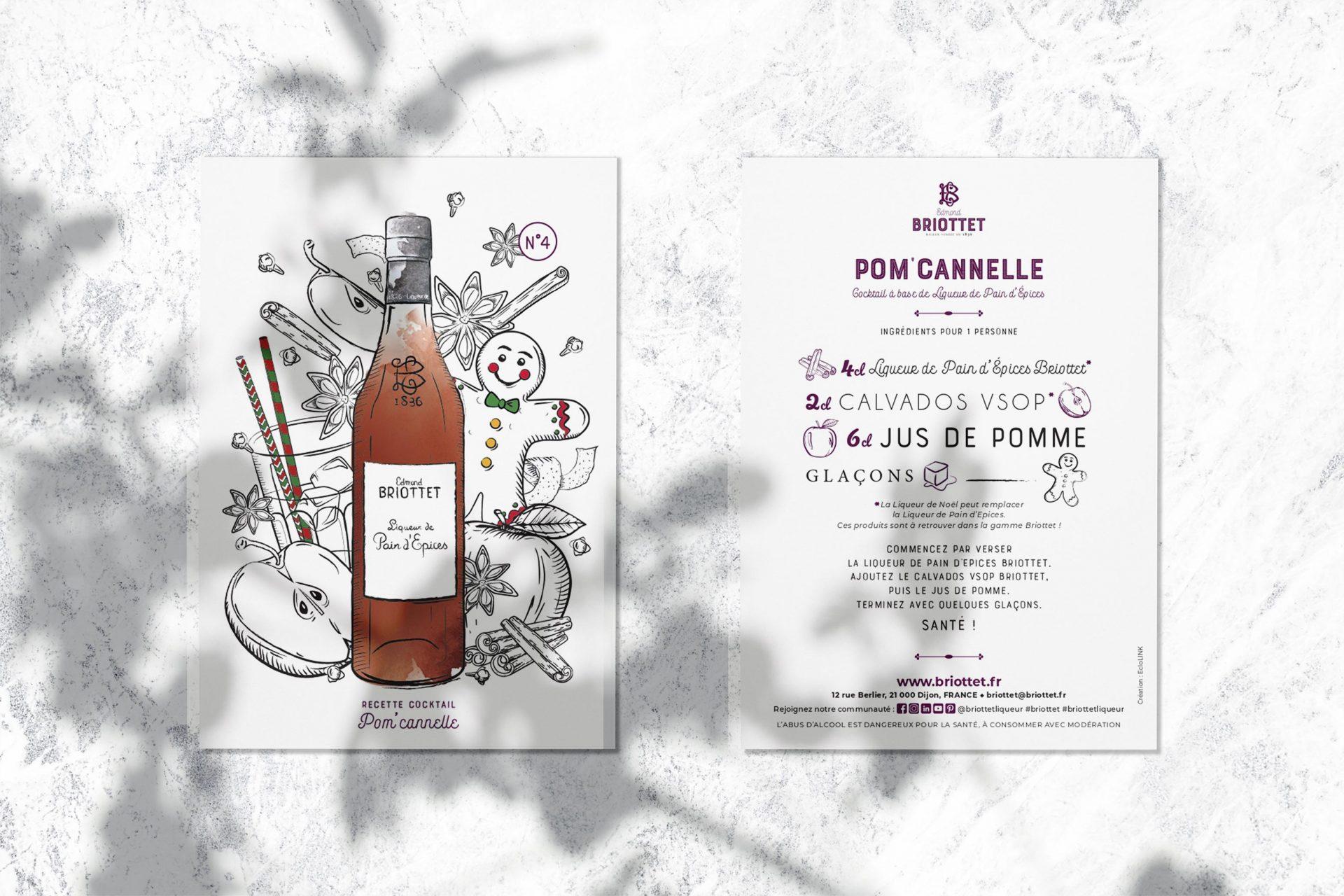 Collection de cartes recettes Briottet N°1 avec recette du Pom'Cannelle. Une recette à base de Liqueur de pain d'Épices Briottet.